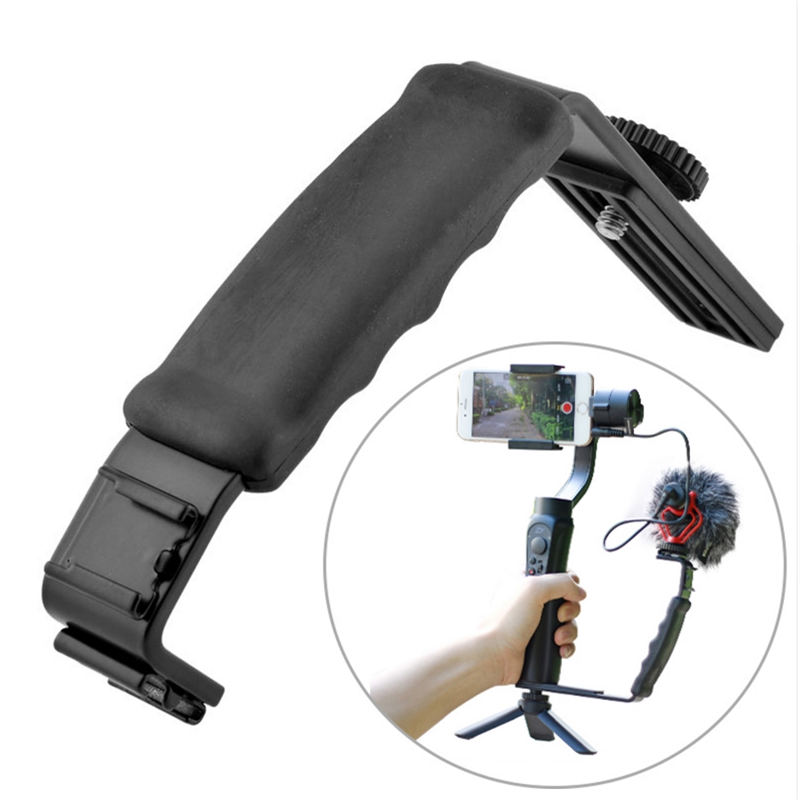 Smooth Q Mic Stand L Bracket Camera Handle Grip with 2 Hot Shoe Mounts for iPhone Zhiyun Smooth 4/DJI Osmo/Rode Videomicro