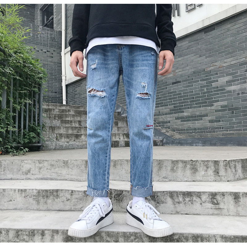 2019 Spring Summer Men Jeans Models Embroidery Men Street Ankle Length Pants Denim Trousers Straight Pencil Pants