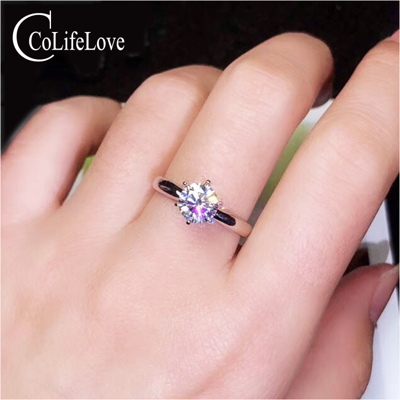 CoLife Jewelry Simple Moissanite Ring for Office Woman 1ct 2ct D Color VVS1 Moissanite Silver Ring