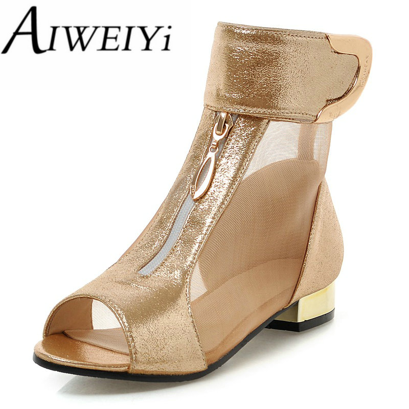 AIWEIYi Open Toe Women Ankle Boots Summer Boots New Fashion Cutouts Buckle Strap Charming Sandals Chunky