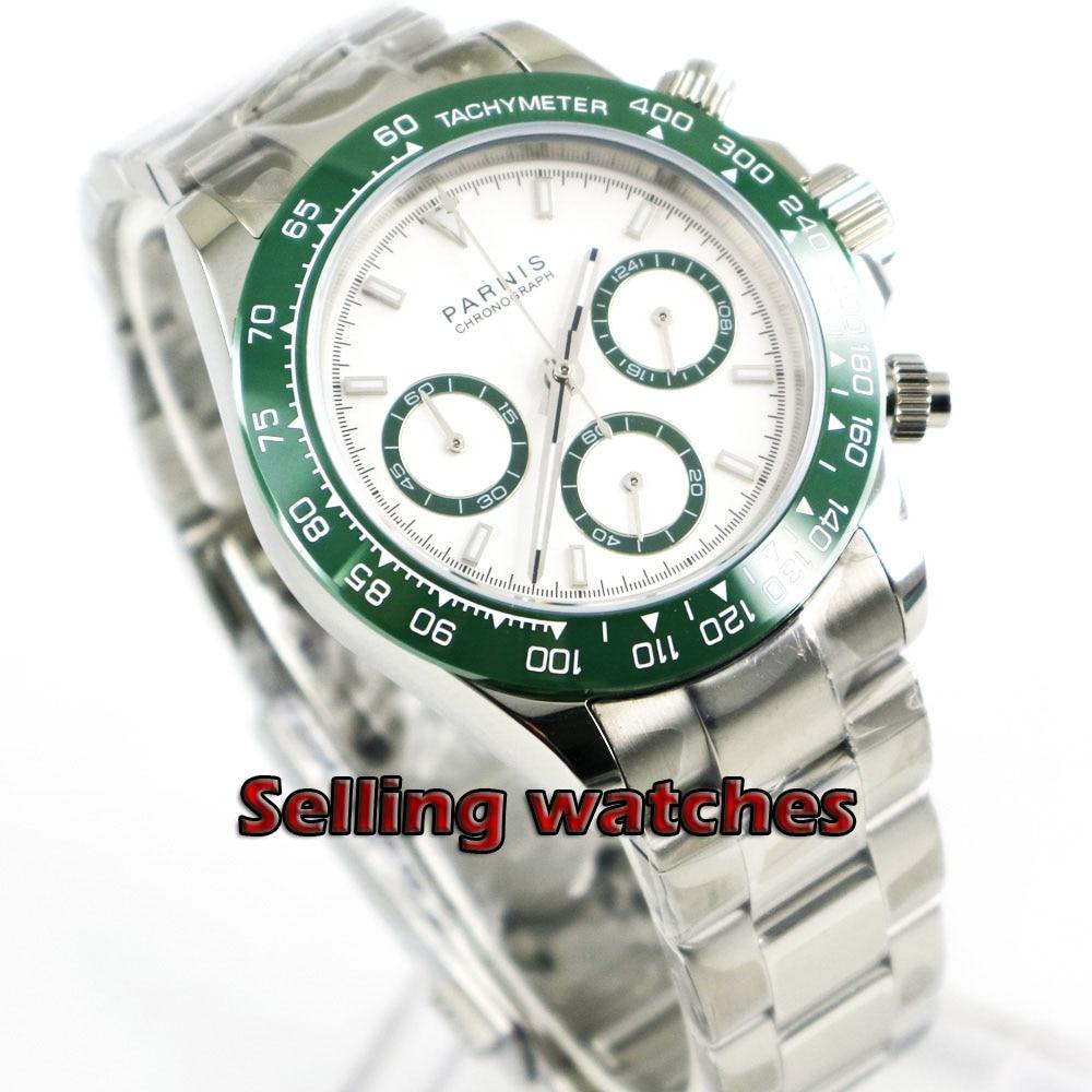 Solide 39mm PARNIS Quartz montre pour hommes chronographe complet cadran blanc saphir lumineux verre chronomètre hommes