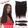 Luz yaki recto Brasileño de la virgen del pelo clip en la extensión del pelo humano de calidad superior al por mayor del precio de fábrica la extensión del pelo humano
