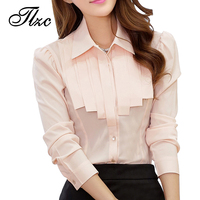 Charm Office Lady White Chiffon Shirts Size S 2XL Ruffled OL Design Clothing 2014 New Korean