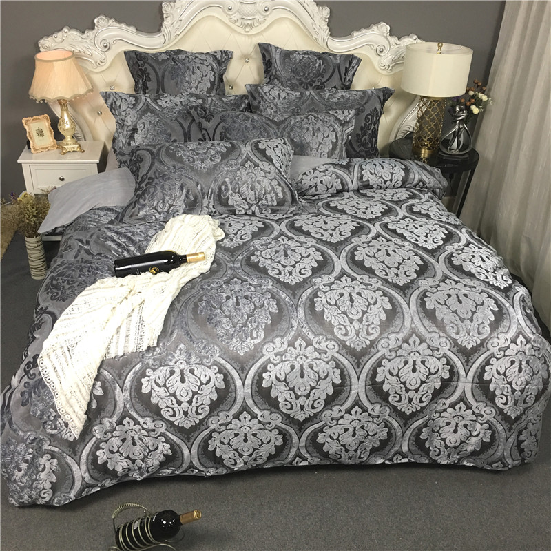 2017 warm winter Jacquard Bedding Set Europe Duvet Cover bedsheet Bed Cover Single Queen King Size 4pcs thick fannel Beddings2017 warm winter Jacquard Bedding Set Europe Duvet Cover bedsheet Bed Cover Single Queen King Size 4pcs thick fannel Beddings