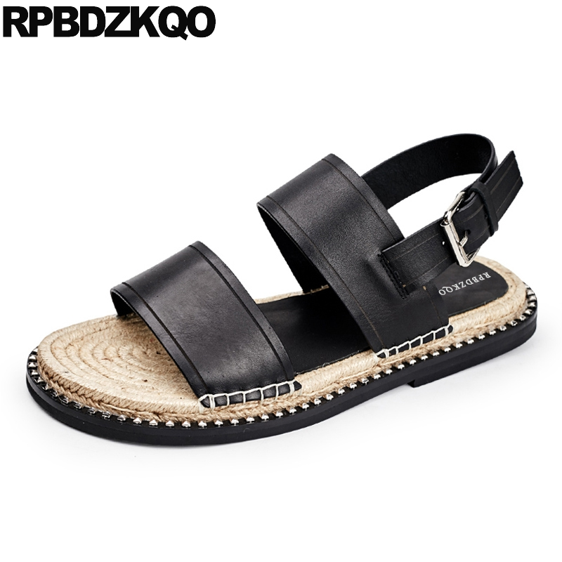 Mens Roman Fashion gladiator Buckle Strap open toe leather Beach shoes sandals w