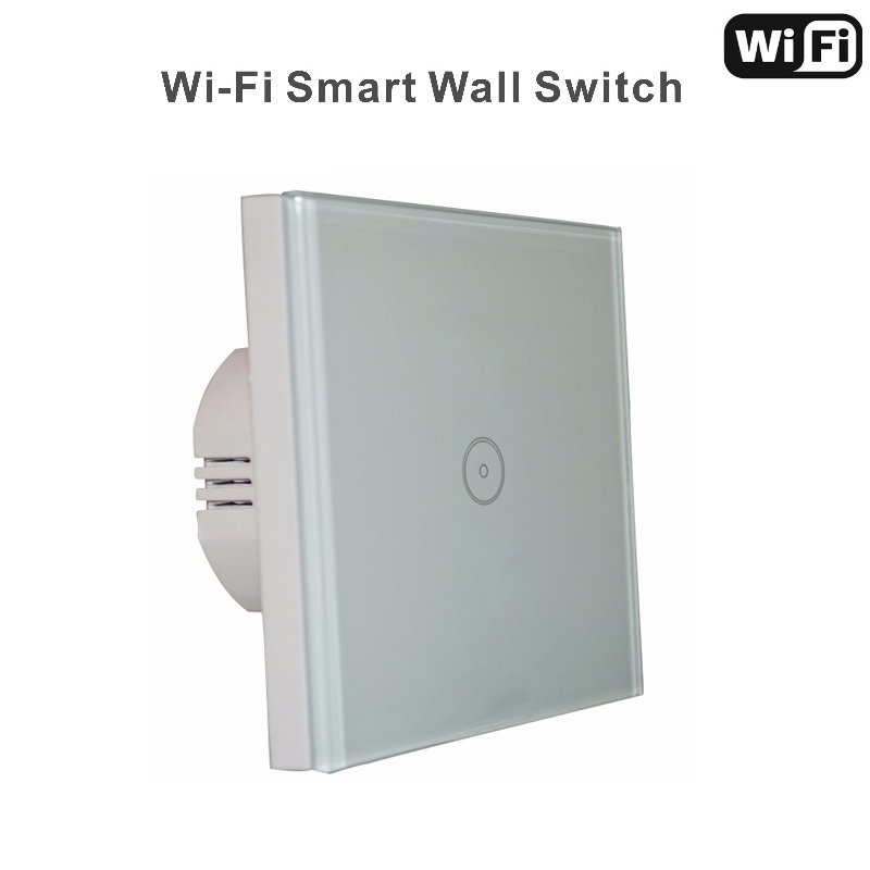 Wall Switch 110~240V Smart Wi-Fi Switch Glass Panel 1gang  EU Touch Light wall Switch Work with Amazon Alexa,Goole home 2017 smart home crystal glass panel wall switch wireless remote light switch us 1 gang wall light touch switch with controller