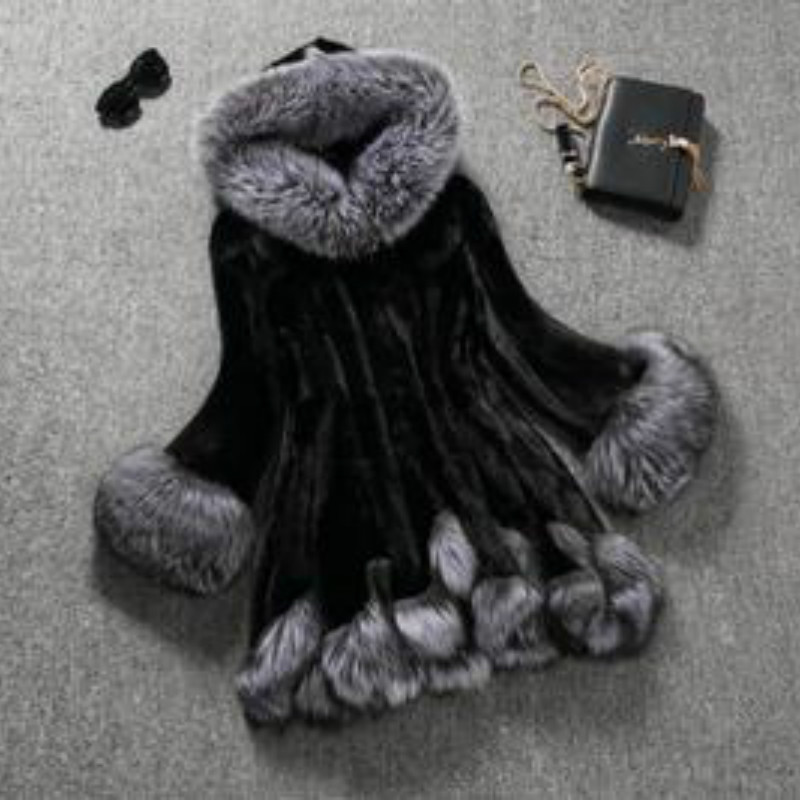 High Imitation Fur Coat Women Silver Fox Fur Collar Hooded Mink Fur Faux Fur Coat Fedorova Medium-long Overcoat