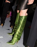 Sapato feminino зеленый металлический зеркало Кожаные Мотоциклетные непромокаемые сапоги тонкий высокий каблук с острым носком в стиле панк зимн