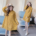 New maternity spring autumn fashion small floral maternity one-piece dress long-sleeve loose maternity dress maternity clothes