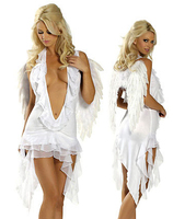 Sexy Chiffon Black And White Angel Dress Deep V Neck Cleavage Halloween Costumes