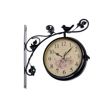 wrought iron double sided wall clock modern design watch saat wall clocks relogio de parede reloj