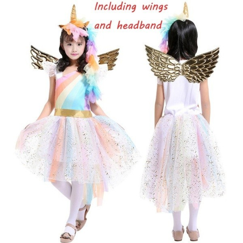 New Fashion Girls My Little Pony Girls Rainbow Unicorn Cosplay Costume Kids Stitching Party Dress with Unicorn Headband Wings