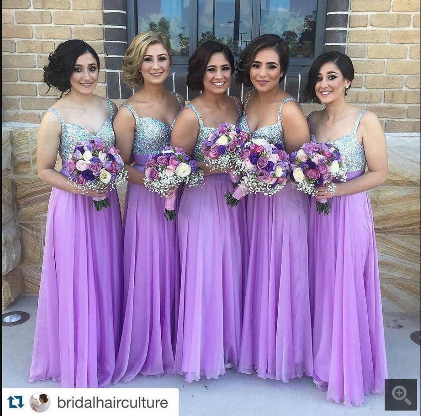 Nuevo diseño de la gasa púrpura vestido de dama sexy correas ...