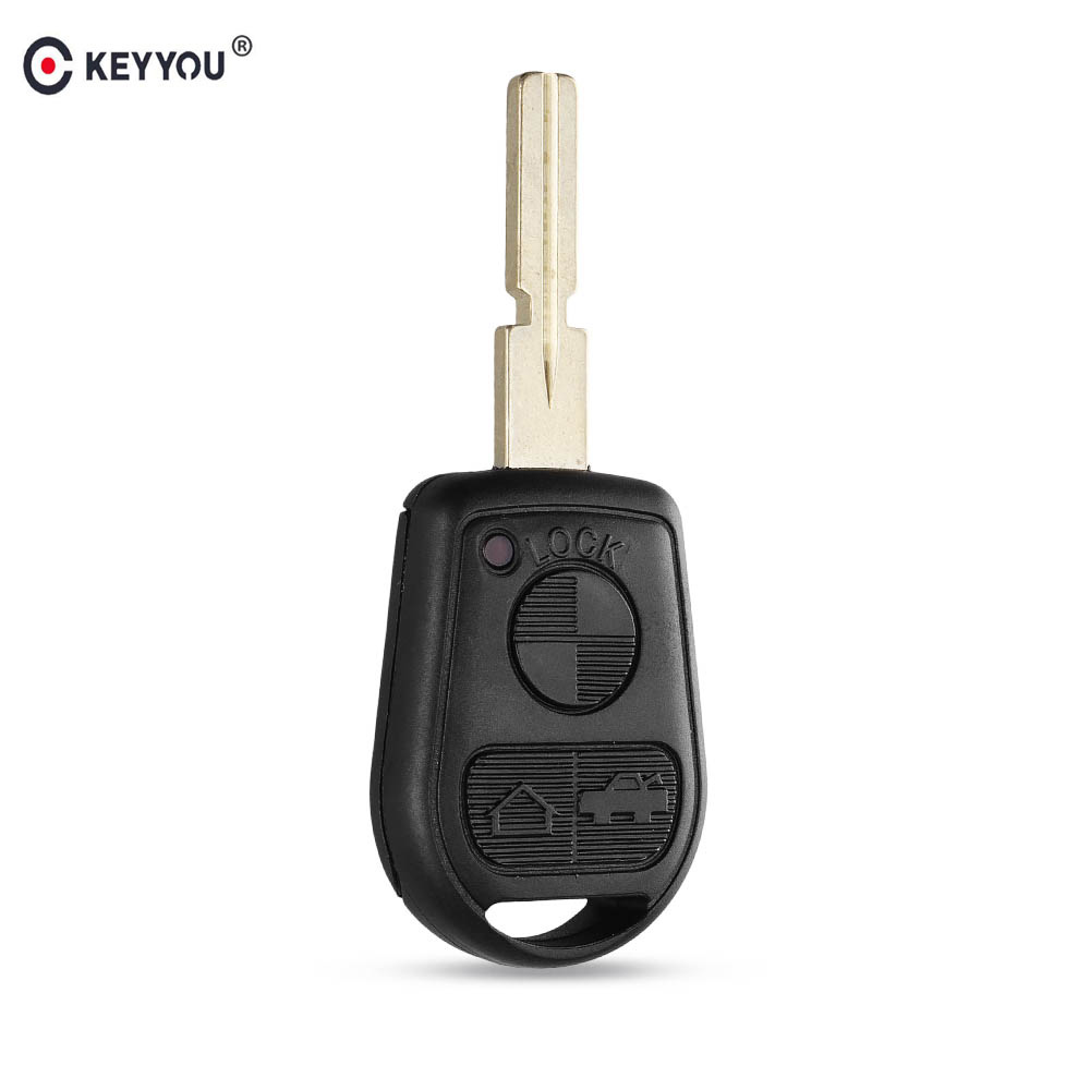 Keyyou 3 Button Uncut Blade Car Key Replacement Remote Key