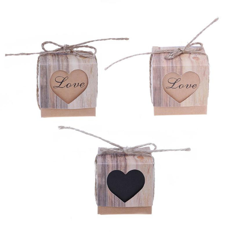 50pcs/pack DIY Small Kraft Paper Candy Box Sweets Chocolate Box Birthday Wedding Party Gift Favor Vintage Gift Boxes