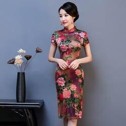 Новое поступление, женские сексуальные Qipao с коротким рукавом, плюс размер, Элегантные цветы с новогодней елкой, бумажный платье, Vestidos