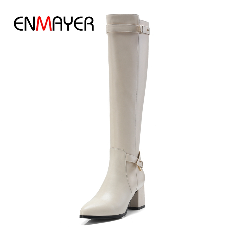 ENMAYER Women Knee high Boots Pointed Toe Low heels Winter Shoes Black Size 34-40 Flock Fashion boots buckle Gray ZYL891 enmayer buckle strap round toe zippers high heels winter boots shoes woman sexy red shoes large size 34 43 knee hight boots