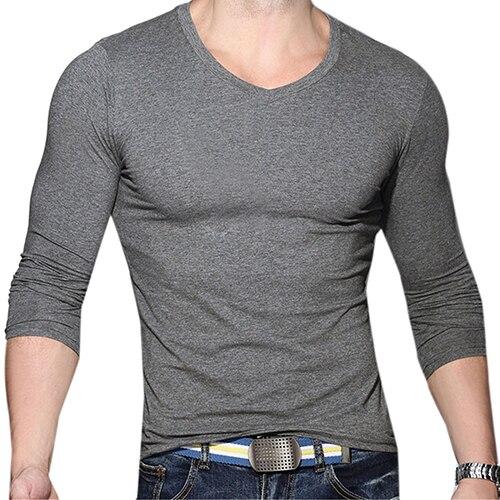 Men Casual V-Neck Long Sleeve Muscle Basic Top Tees