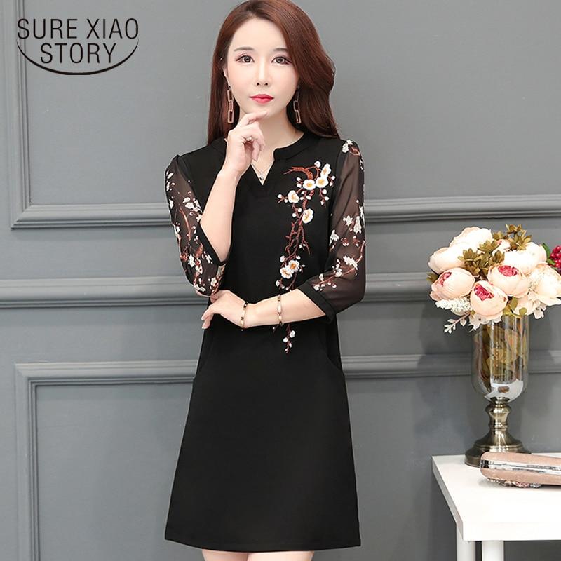 6152337bbe8 Мода цветок вышивка черное шифоновое платье для женщин короткий рукав летнее  платье плюс размеры XXXL 4XL