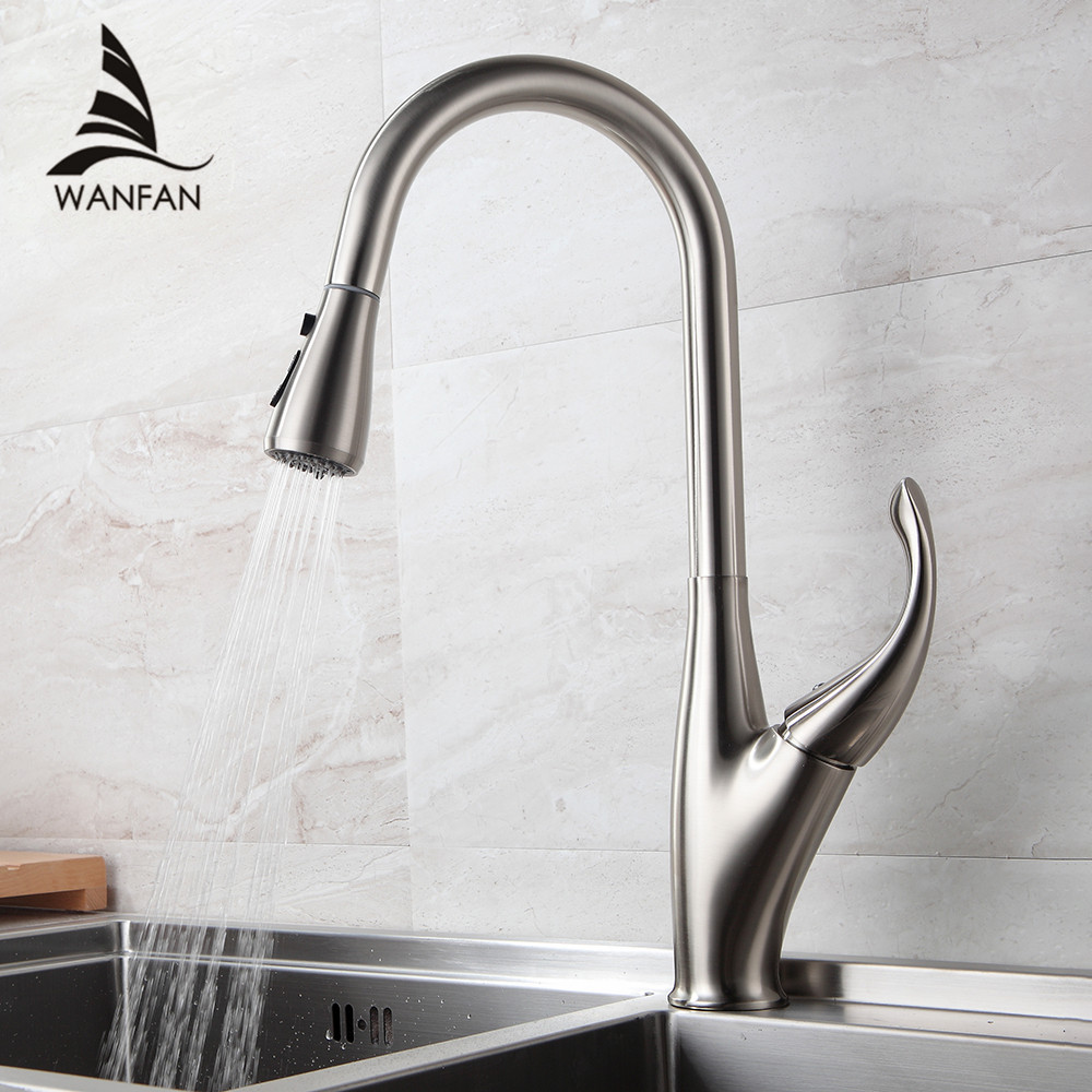 Кухня смесители серебро одной ручкой вытащить Кухня нажмите на одно отверстие поворотной ручкой 360 градусов воды смеситель 866001