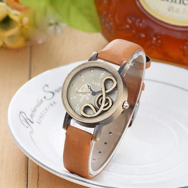 Fashion Women Watches Elegant Musical Note Carving Decorate Leather Strap Wristw