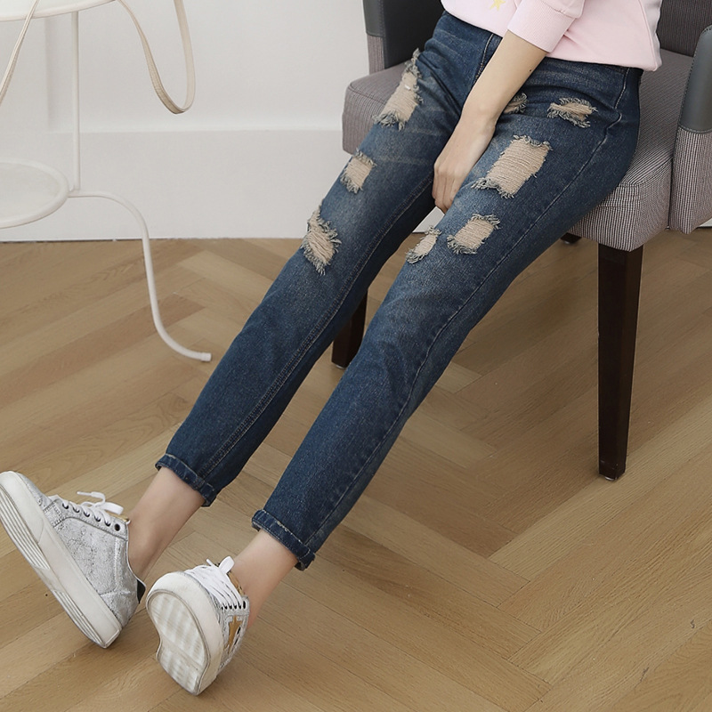 On behalf of a spring 2016 loose hole jeans pants size thin beggar woman Haren nine