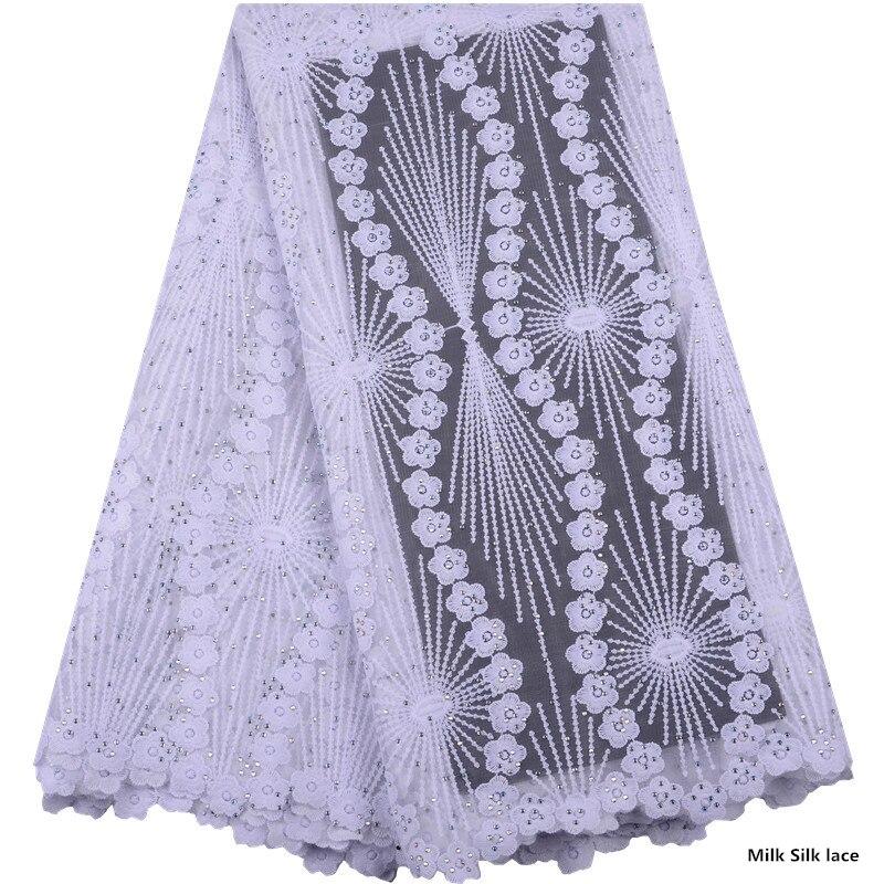 Hot Sale Nigerian Lace Fabrics Latest Stones Mesh African Lace Fabric Milk Silk Lace French Net