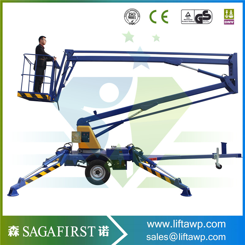 2018 New SINOFIRST Very Good Quality 360 Degree Towable Trailed Hydraulic Boom Lift for Hot Sales