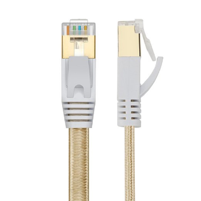 New  GOLD COLOR  0.5m1m1.5m2m 3m,5m 10mCAT7 cable RJ45 Patch flat Ethernet LAN Network Cable For Router Switch gold plated