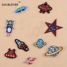 DOUBLEHEE Rocket Ship Planet Embroidered Iron On Patches  Design Beauty Badges diy accessories shoes bag