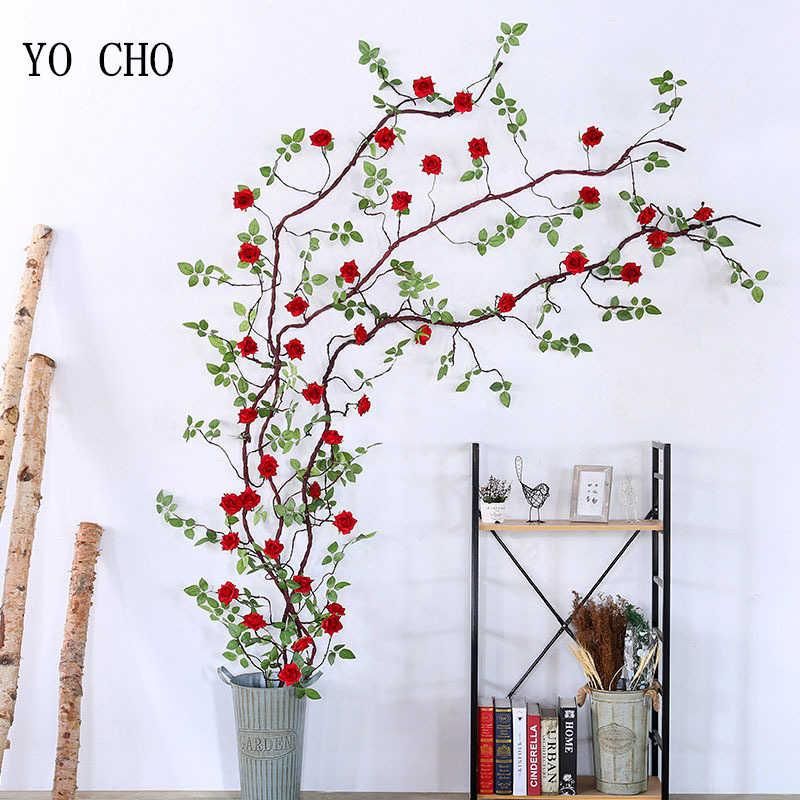 YO CHO 300 CM Künstliche Blumen Silk Rose Rattan Gefälschte Ivy Reben String für Home Hochzeit Dekoration Blume Girlande Kunststoff pflanzen