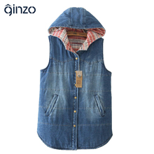 Women's winter warm plus size hooded denim vest Lady's casual large size plaid thick vest Female Free shipping