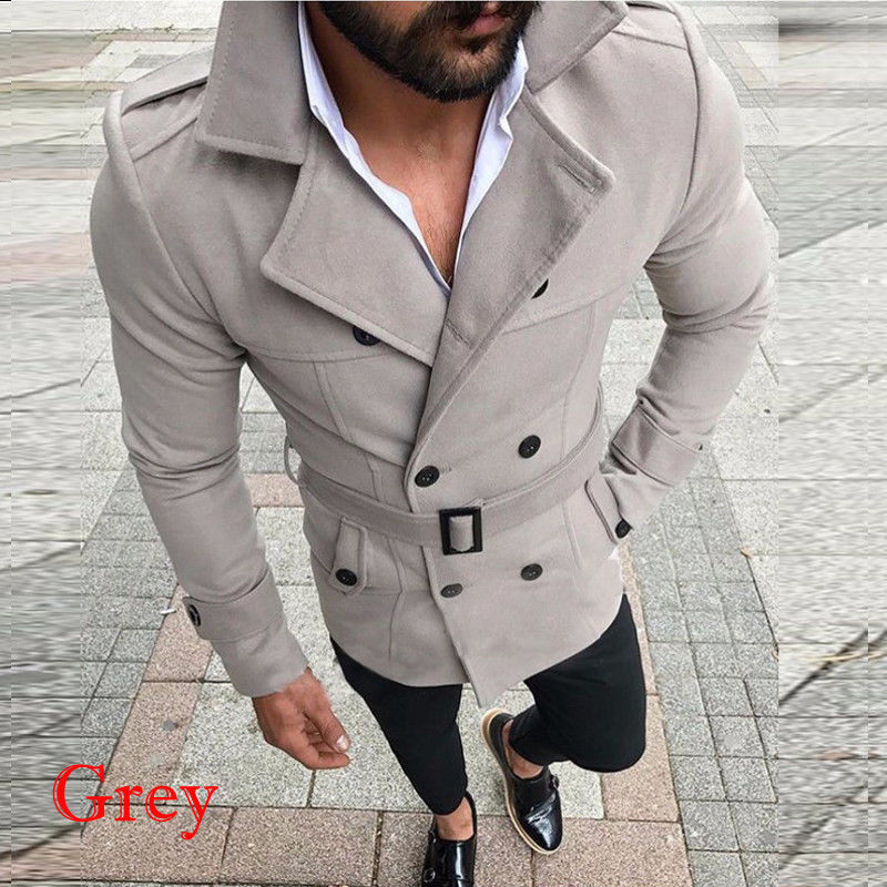 Trench   2018 New Brand Woolen Overcoat Men Winter Vintage Long Sleeve Sashes Casual   Trench   Reefer Double Breasted