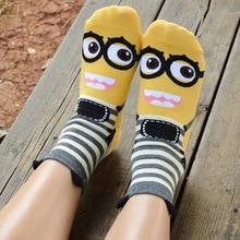 1 pair Despicable me socks cartoon short lady women cotton wear Three-dimensional girl 2017 new arrival summer sock