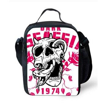 الأزياء 3d الجمجمة طباعة حقيبة الغداء معزول حقيبة الغداء للنساء الحرارية الاطفال الغداء مربع الكبار نزهة حقيبة بولسا termica