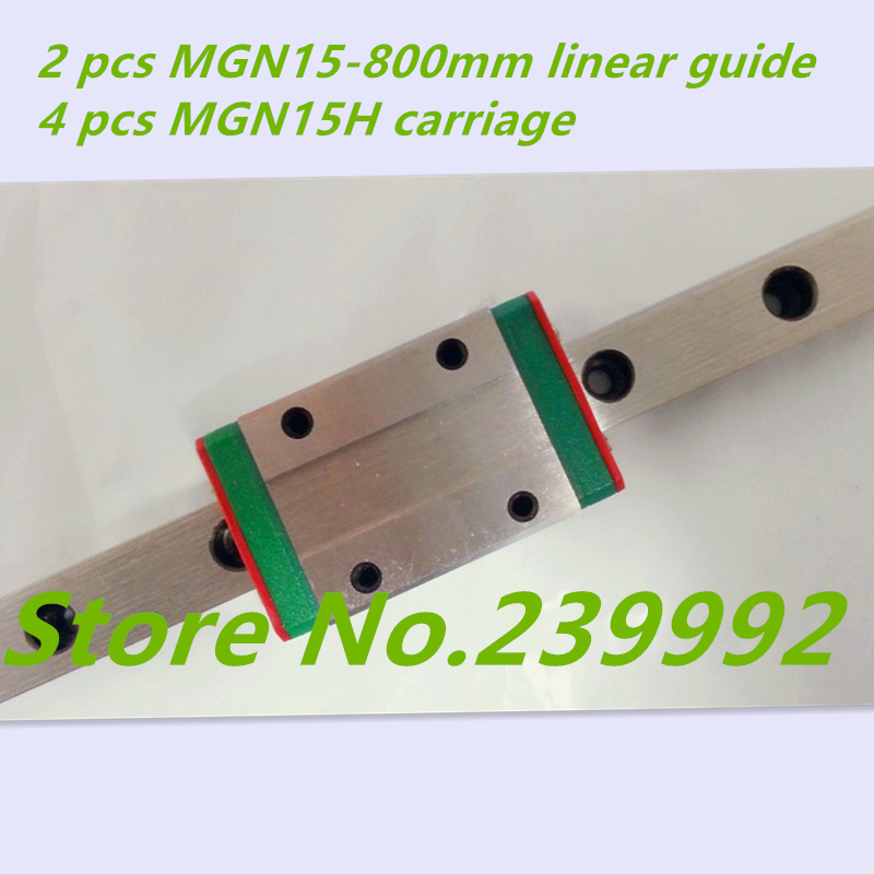 2 pcs MGN15 800mm 15mm miniature linear guide MGN15 800mm rail and 4 pcs of MGN15H