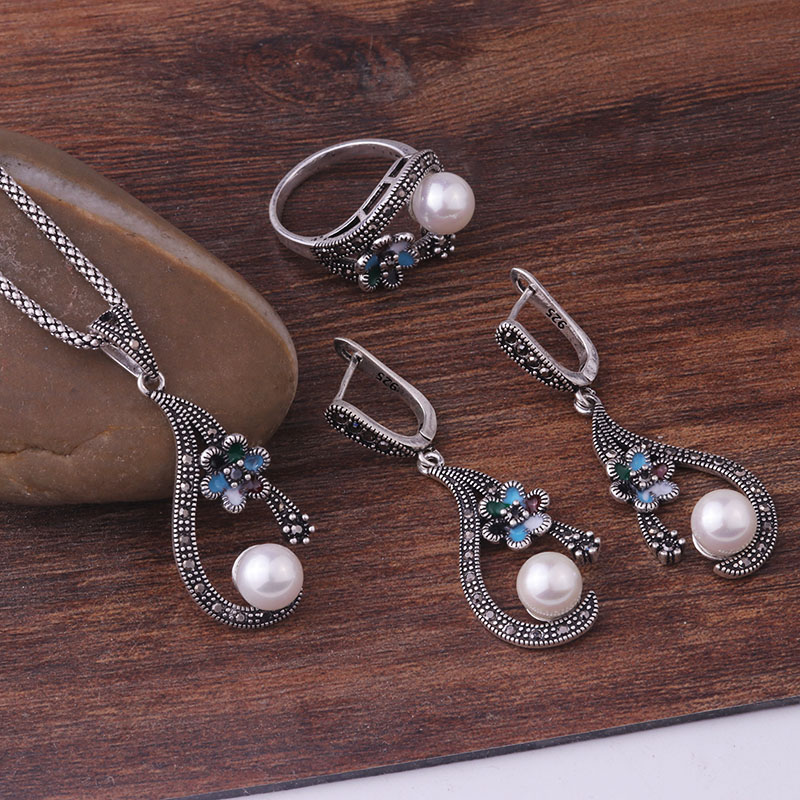 HTB1BxfplbsTMeJjy1zeq6AOCVXa6 - Feelgood Individuality Vintage Silver Color Jewellery Exquisite Enamel Small Flower And Imitation Pearl Jewelry Sets For Women