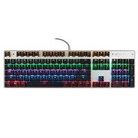 משחקים מכאני מקלדת צבעוני תאורה אחורית אנטי ghosting כחול/שחור/אדום מתג 87/104 מפתחות USB Wired רוסית/ אנגלית מדבקה