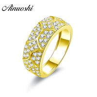 AINUOSHI Luxury Real Gold Flower Matching Band 14K Solid Yellow Gold Sona Simulated Diamond Wedding Engagement Ring Gold Jewelry