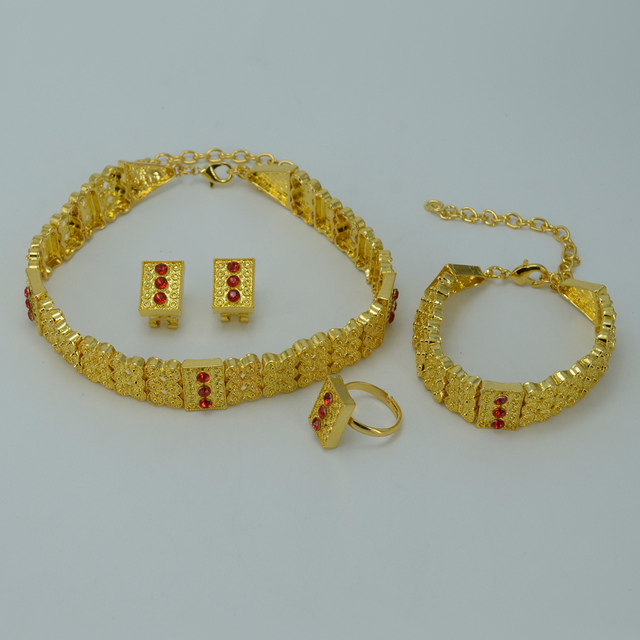 Gold Plated Ethiopian Jewelry sets Chokers Necklace/Earrings/Ring/Bracelet Eritrea Habesha Africa Bride Wedding set #011306
