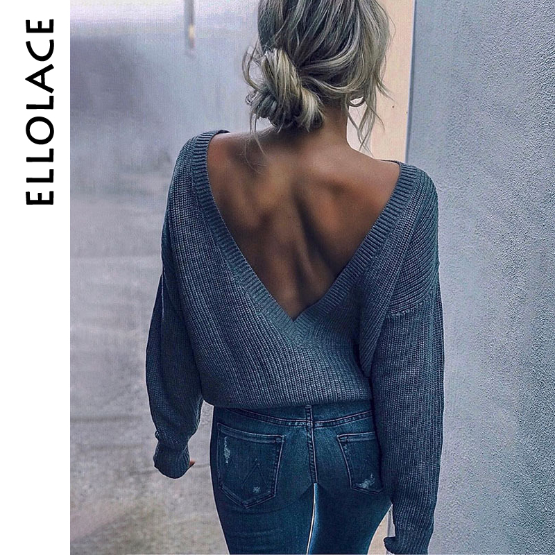 Ellolace Backless Deep-V Women's Sweater Long Sleeve Knitted Pullovers Women Loose Casual Sweaters 2019 Female Jumper Cashmere