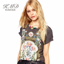 KMD KOMODA Women T-shirt 3Color Crew Neck Short Sleeve Vintage Elegant Harajuku Tee Summer Hipster Floral Print Sweet Female Top