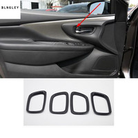 4pcs/lot ABS Carbon fiber grain Interior door shake handshandle decoration cover for 2015 2018 Nissan Murano car accessories