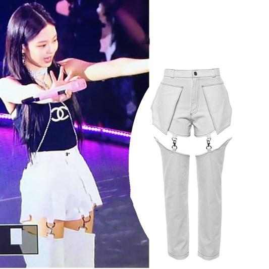 Kpop BLACKPINK Jennie Streetwear Sexy High Waist Hip Hop Pants Women Korean Hollow Splice Straight Trousers Wild Female Clothes