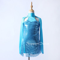Fashionable Sequin Jazz Dance Costume Long Sleeve Backless Contemporary Dress C328