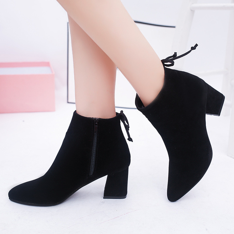 Dwayne New Womens Short Boots Female Pointed Toe Thick Heel High Heel Ankle Boots Flock Zipper Single Boots Autumn Size 34-42