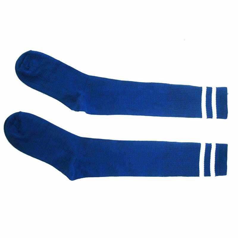 เด็กกีฬาฟุตบอลฟุตบอลถุงเท้ายาวกว่าเข่าถุงเท้าเด็กสีฟ้าสำหรับเด็กวัยหัดเดินหญิงเข่าถุงเท้าเด็ก
