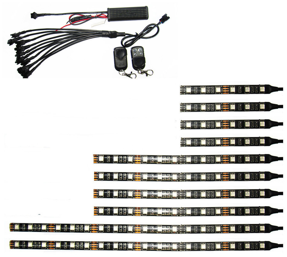 ФОТО 12V 10PCS RGB 5050SMD LED Car Motorcycle Glow Lights Flexible Neon Strips Kit Chopper Frame With Remote Controller Multi Color