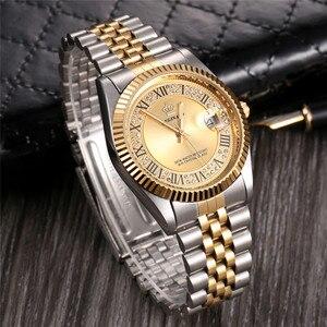 Image 5 - Original New 2020 REGINALD Quartz Watch Men 18k Yellow Gold Fluted Bezel Pearl Diamond Dial Full Stainless Steel Luminous Clock