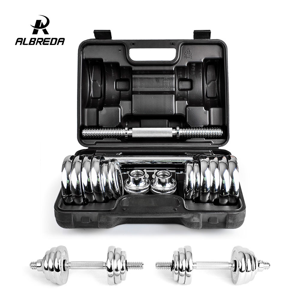 ALBREDA 15KG/20KG Men's Electroplate  dumbbells fitness equipment dumbbell weights Fitness Barbells Barbells weighting цена